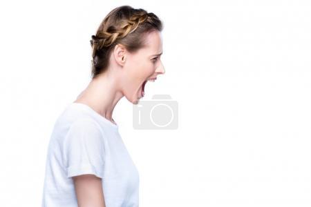 Beautiful yelling woman
