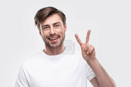 Man showing victory sign