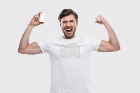 Strong man with vitamins