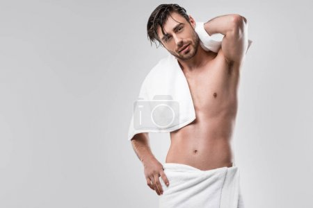 Shirtless man with towel