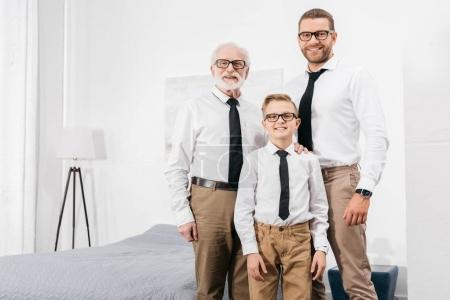 Family in formal shirts and ties