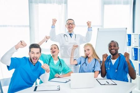 Doctors celebrating victory