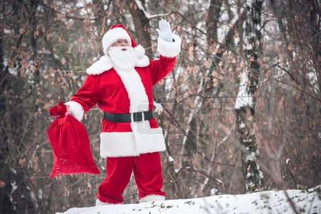 Photo for Santa Claus walking from the forest with red sack full of gifts and gesturing - Royalty Free Image
