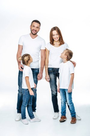 Smiling children looking at parents