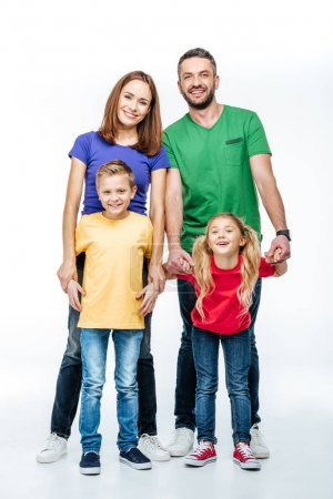 Family smiling at camera