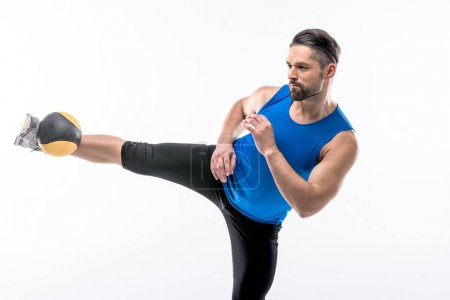 Man exercising with ball