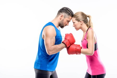 Man and woman in boxing gloves
