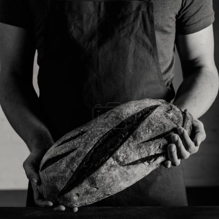 Photo for Male baker holding fresh baked bread in hands, black and white photo - Royalty Free Image