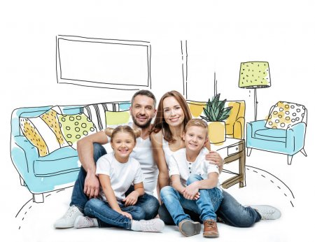 Photo for Happy family with two children sitting together in drawn room and looking at camera - Royalty Free Image