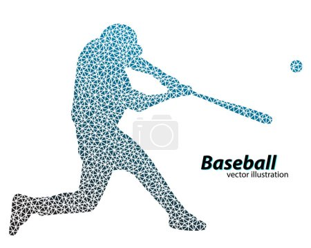 Silhouette of a baseball player from triangle. Tex...