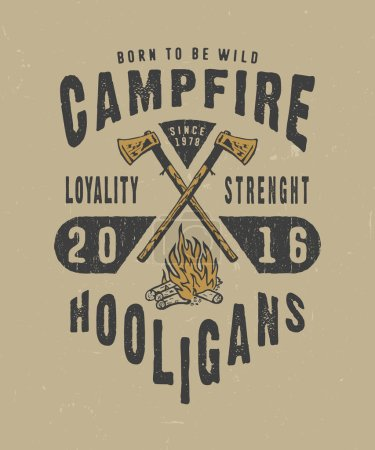 Illustration for CAMPFIRE HOOLIGANS. Handmade IRON axes, fire retro style. Design fashion apparel texture print. T shirt graphic vintage grunge vector illustration badge label logo template. - Royalty Free Image