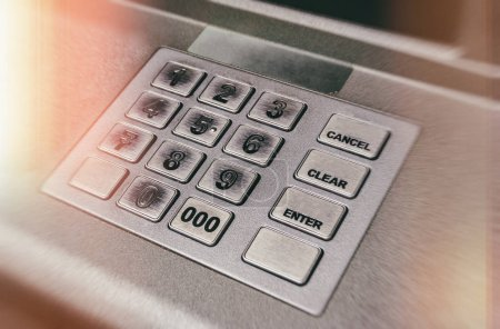 Close up ATM EPP machine keyboard or buttons of Automated Teller Machine (Cash M