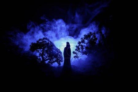 Photo pour Halloween Horror décoré image conceptuelle. Seule fille de la lumière dans la forêt pendant la nuit. Silhouette de jeune fille debout entre les arbres avec lumière surréaliste sur le fond. Mise au point sélective. - image libre de droit