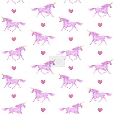 Photo for Seamless pattern of hand drawn unicorns - Royalty Free Image
