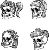 Stylish Female skull girl and lady Female skull maiden Female skull lass Female skull adolescent Female skull woman Female skull wife Female skull old woman Female skull  dame Separate on a white background hand drawn in vector Line style
