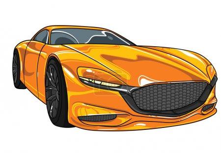 Illustration pour Jaune voiture de sport mazda vecteur illustration modifiable. Séparer sur fond blanc. Différentes super voitures dans toutes les couleurs à l'intérieur de mon profil . - image libre de droit