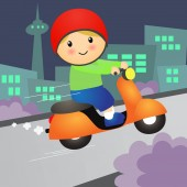 Cartoon Boy ride Motorcycle Scooter.Vector Illustration.