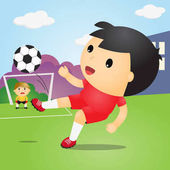 Boys Playing Soccer on Field.Soccer Player.Vector Illustration.