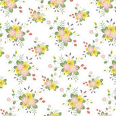Classic Vintage Pink and Yellow Flower Pattern in White Background.Vector Illustration.