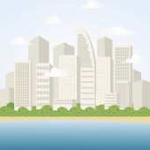 City Landscape with Skyscrapers.Seaside Town Scene.Vector Illustration