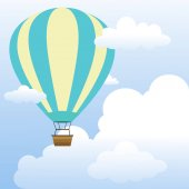 Air Balloon in The Sky With Clouds Scenery.