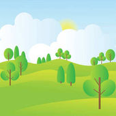 Hills Scenery With Trees, Blue Sky, Sunrise And Clouds.Flat Vector Illustration.