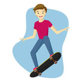 Isolated Boy Playing Skateboard with White Background.