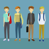 Young Man Characters with Various Poses Carrying a Bag Vector Illustration.