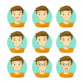 Man's Face Expressions.Human Emotion Icons Vector with White Background.