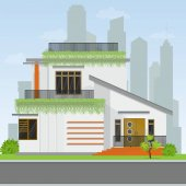 Modern house building.Illustration of detailed cozy house.