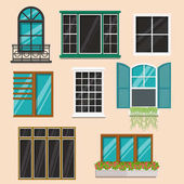 Set of various colorful  windows.Flat style vector illustration