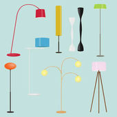 Floor lamps collection.Set of standing lamps.