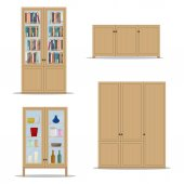 Classic wooden Interior set with isolated cupboard, bookshelf, wardrobe and cabinet.