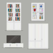 Set of isolated Bookcase,TV Cabinet and Wardrobe Furniture.