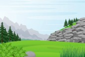 Illustration of Rocky Hill, Field, Forest and Mountains View.