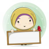 Cute Cartoon of a Muslim Girl Holding a Board for Text Space