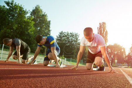Photo for Athletic man starting evening jogging in sun rays - Royalty Free Image