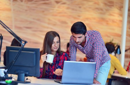 People brainstorming on meeting at office