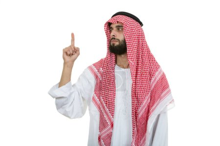 Arab saudi emirates man pointing finger