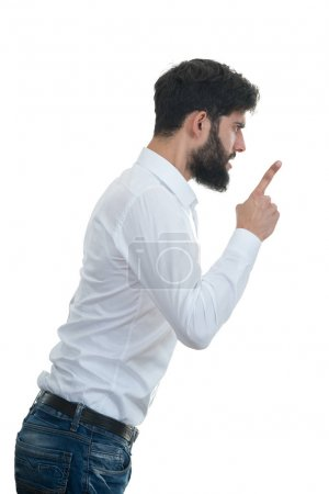 young man yelling with open mouth.