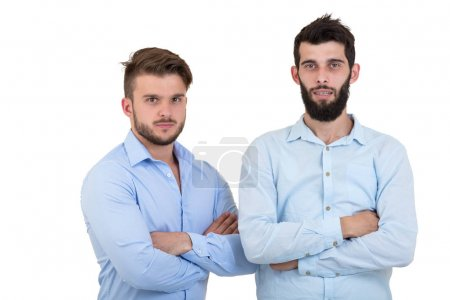 Shoulder to Shoulder with Friend. Two man with beard isolated on white background.