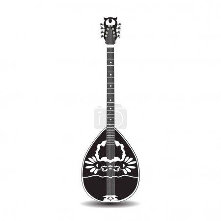 Vector illustration of bouzouki, greek folk musical instrument in flat style.
