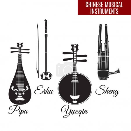 Vector set of black and white chinese string and wind musical instruments, flat style.