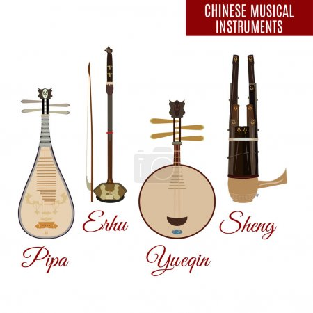 Vector set of chinese string and wind musical instruments, flat style.