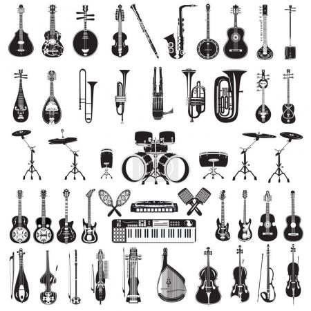 Vector set of black and white musical instruments isolated, flat style