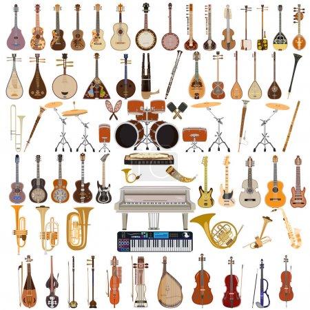 Illustration pour Vecteur grand ensemble d'instruments de musique isolés sur fond blanc. Design de style plat . - image libre de droit