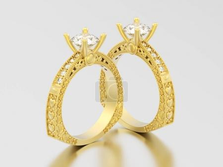 3D illustration two yellow gold decorative diamond rings with or