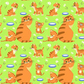Seamless pattern with cat family milk flowers on light green background