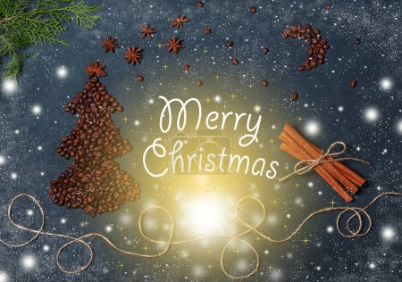 Vintage Christmas composition with Coffee beans Christmas Tree Magic Sky Snowflakes Fir Tree Cinnamon Stars and lights. Christmas Card with greeting merry Christmas. New year Background