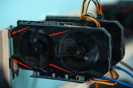 Home made Working graphic video cards for e-currency. Computer for Bitcoin and cryptocurrency virtual mining. Crypto farm.